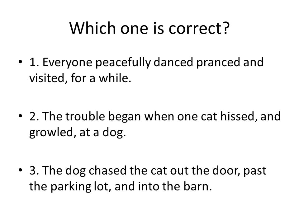Which one is correct. 1. Everyone peacefully danced pranced and visited, for a while.