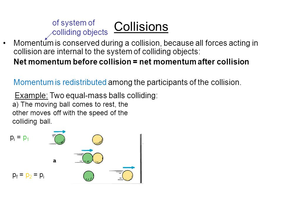 Collisions Momentum is conserved during a collision, because all forces acting in collision are internal to the system of colliding objects: Net momentum before collision = net momentum after collision Momentum is redistributed among the participants of the collision.