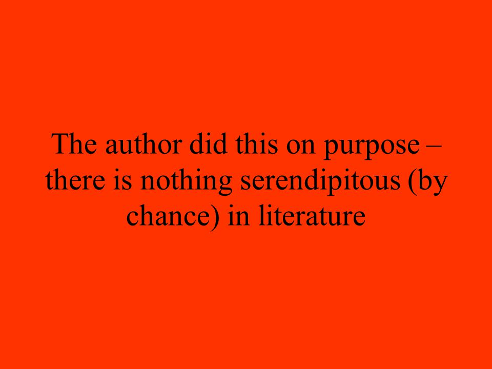The author did this on purpose – there is nothing serendipitous (by chance) in literature