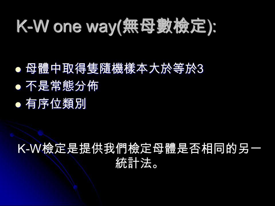 K-W one way( 無母數檢定 ): 母體中取得隻隨機樣本大於等於 3 母體中取得隻隨機樣本大於等於 3 不是常態分佈 不是常態分佈 有序位類別 有序位類別 K-W 檢定是提供我們檢定母體是否相同的另一 統計法。