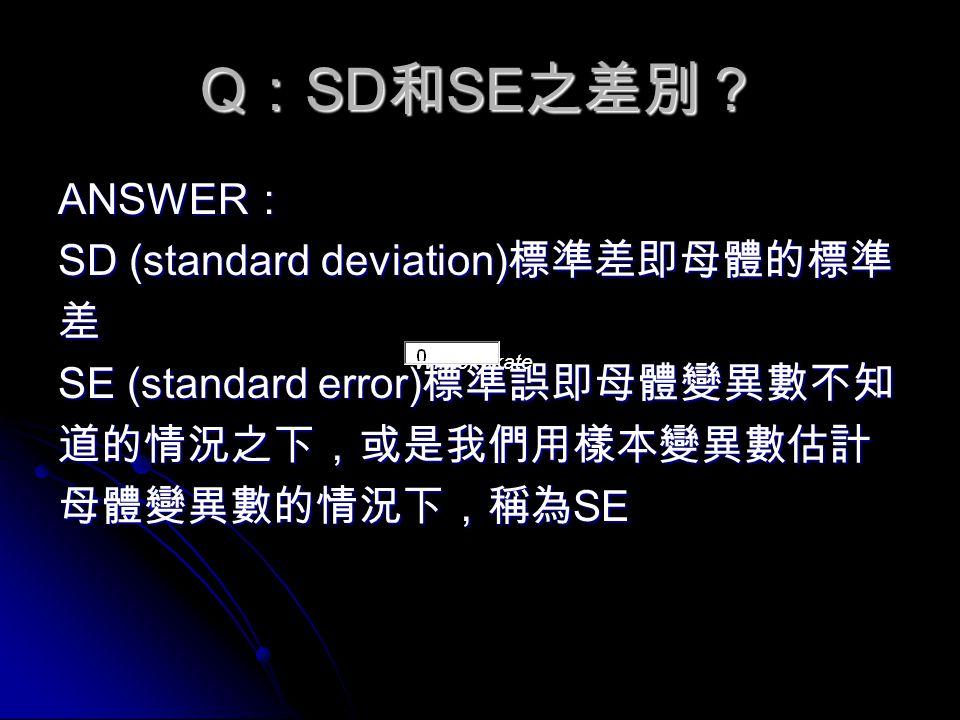 Q : SD 和 SE 之差別? ANSWER : SD (standard deviation) 標準差即母體的標準 差 SE (standard error) 標準誤即母體變異數不知 道的情況之下,或是我們用樣本變異數估計 母體變異數的情況下,稱為 SE Winter skate