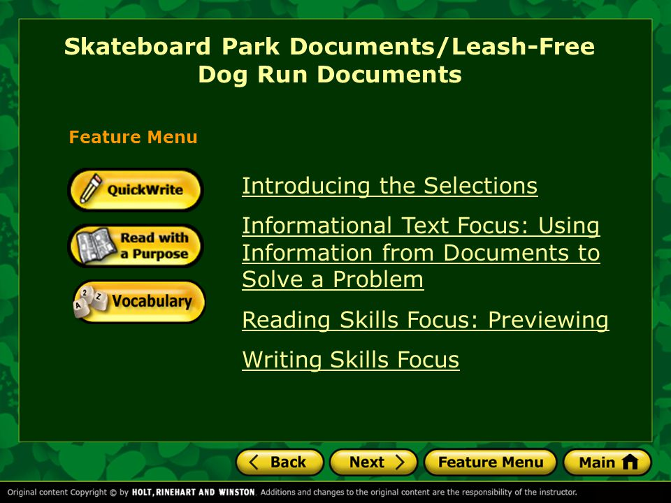 Skateboard Park Documents/Leash-Free Dog Run Documents Introducing the Selections How do we solve problems that affect an entire community?