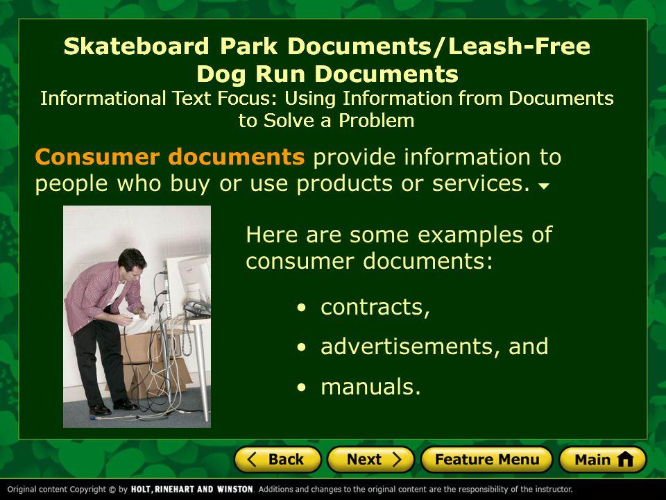 Skateboard Park Documents/Leash-Free Dog Run Documents Vocabulary potentially adv.: possibly.