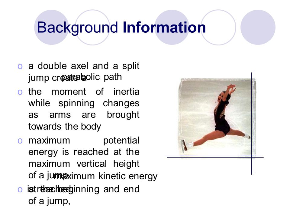 Background Information oa double axel and a split jump create a othe moment of inertia while spinning changes as arms are brought towards the body omaximum potential energy is reached at the maximum vertical height of a jump oat the beginning and end of a jump, parabolic path maximum kinetic energy is reached