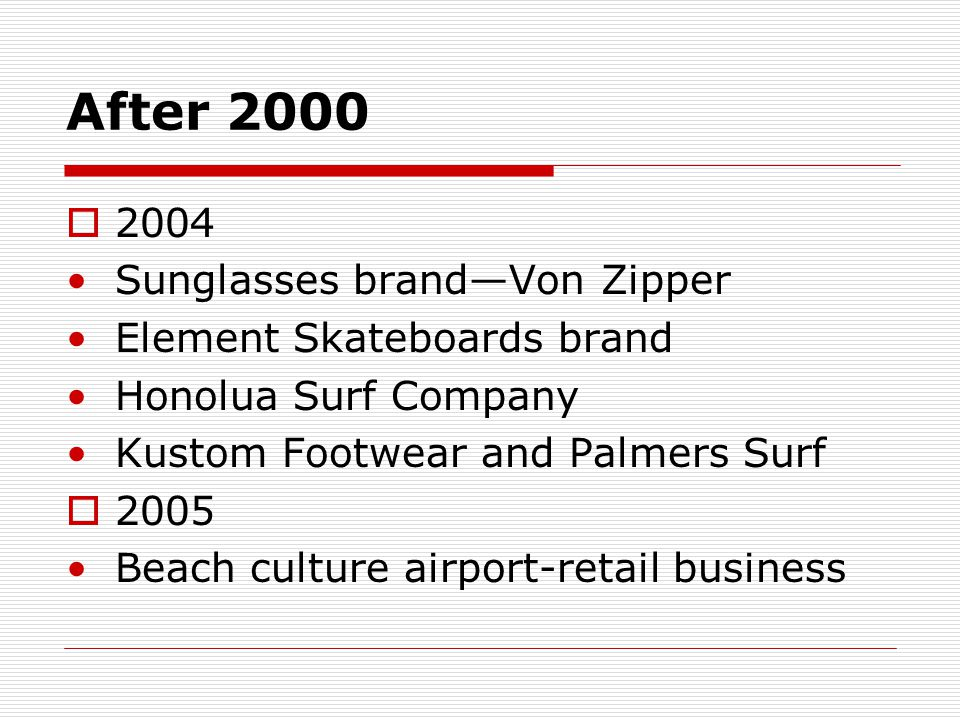 After 2000  2006 Nixon watches and accessories  Element Footwear range the California-based Beachworks retail business
