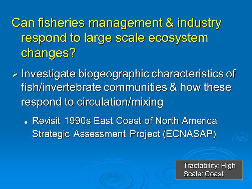  Investigate food requirements & consumption estimates of apex predators (seals, sea birds, etc) Tractability: Low Scale: Institute ESS Cod consumed using 3 different model assumptions