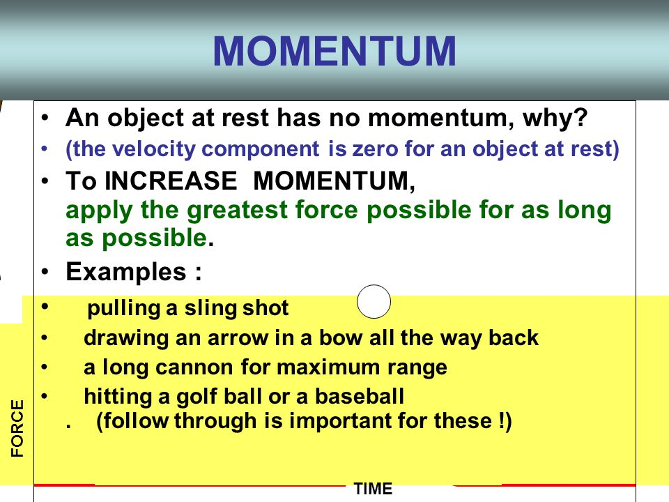 Impulse = change in momentum (mv) Most often v changes (accel) And m x a = force Applying a force over a time interval to an object changes the momentum Force x time interval = Impulse Impulse = FΔt or Impulse and Momentum FΔt = mΔv