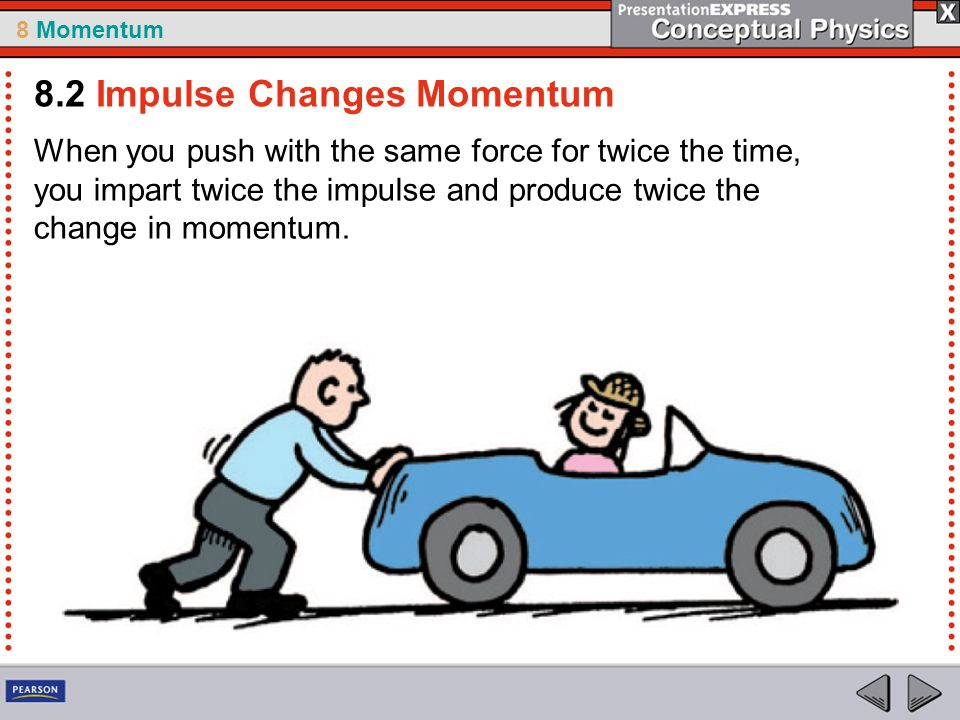 8 Momentum When you push with the same force for twice the time, you impart twice the impulse and produce twice the change in momentum. 8.2 Impulse Ch