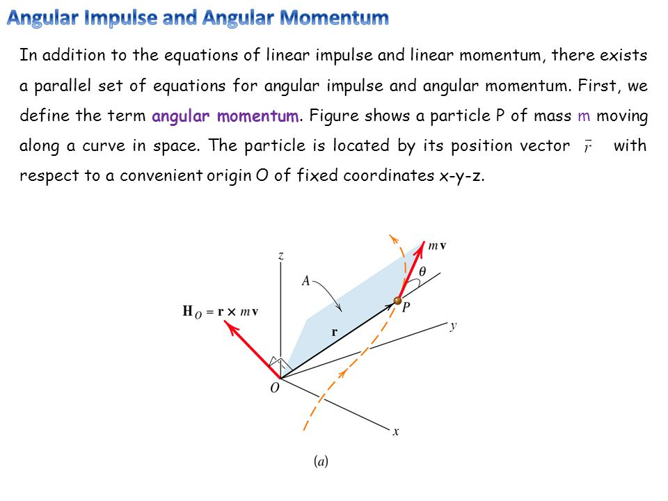 In addition to the equations of linear impulse and linear momentum, there exists a parallel set of equations for angular impulse and angular momentum.