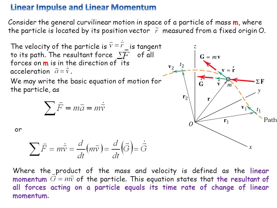 Consider the general curvilinear motion in space of a particle of mass m, where the particle is located by its position vector measured from a fixed o