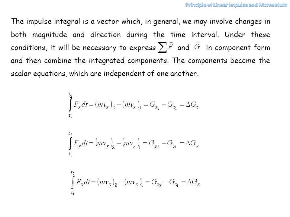 The impulse integral is a vector which, in general, we may involve changes in both magnitude and direction during the time interval. Under these condi