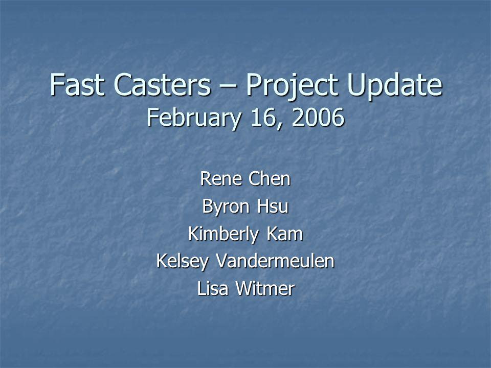 Fast Casters – Project Update February 16, 2006 Rene Chen Byron Hsu Kimberly Kam Kelsey Vandermeulen Lisa Witmer