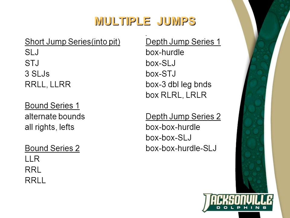 MULTIPLE JUMPS Short Jump Series(into pit) SLJ STJ 3 SLJs RRLL, LLRR Bound Series 1 alternate bounds all rights, lefts Bound Series 2 LLR RRL RRLL Dep