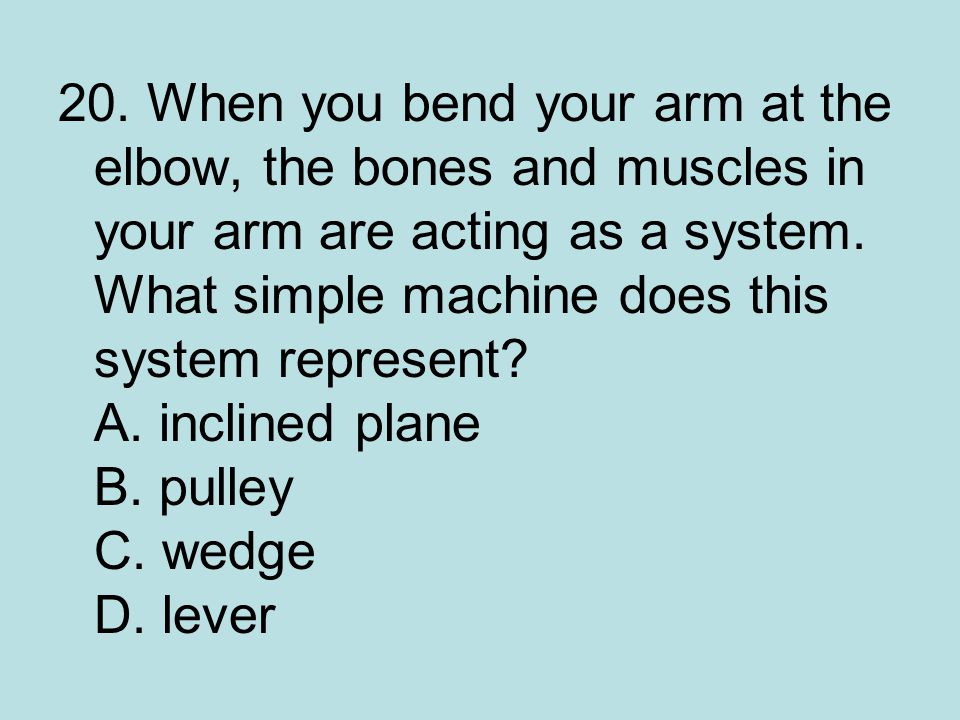 20.When you bend your arm at the elbow, the bones and muscles in your arm are acting as a system.