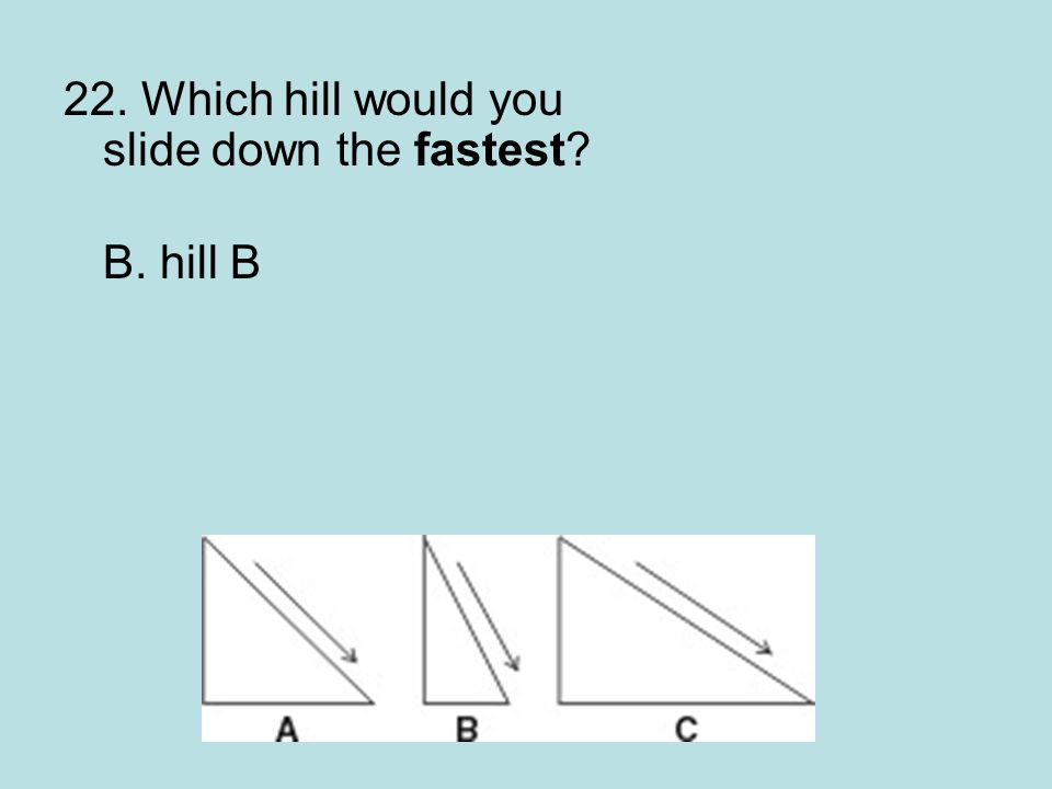22. Which hill would you slide down the fastest? B. hill B