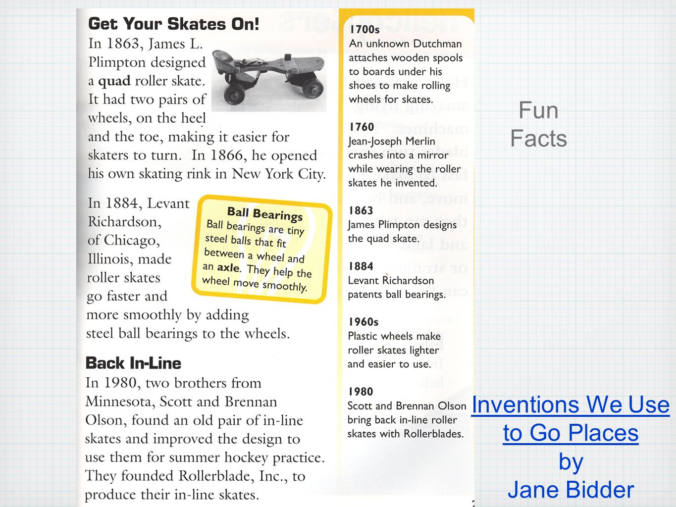 Inventions We Use to Go Places by Jane Bidder Fun Facts