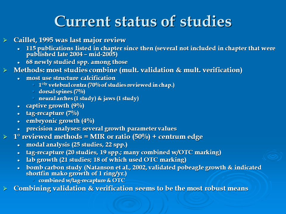 Current status of studies  Caillet, 1995 was last major review 115 publications listed in chapter since then (several not included in chapter that were published late 2004 – mid-2005) 115 publications listed in chapter since then (several not included in chapter that were published late 2004 – mid-2005) 68 newly studied spp.