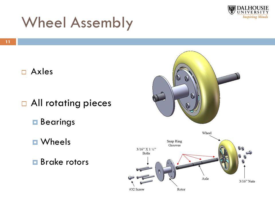 Wheel Assembly  Axles  All rotating pieces  Bearings  Wheels  Brake rotors 11