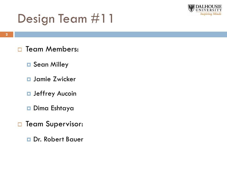  Team Members:  Sean Milley  Jamie Zwicker  Jeffrey Aucoin  Dima Eshtaya  Team Supervisor:  Dr.