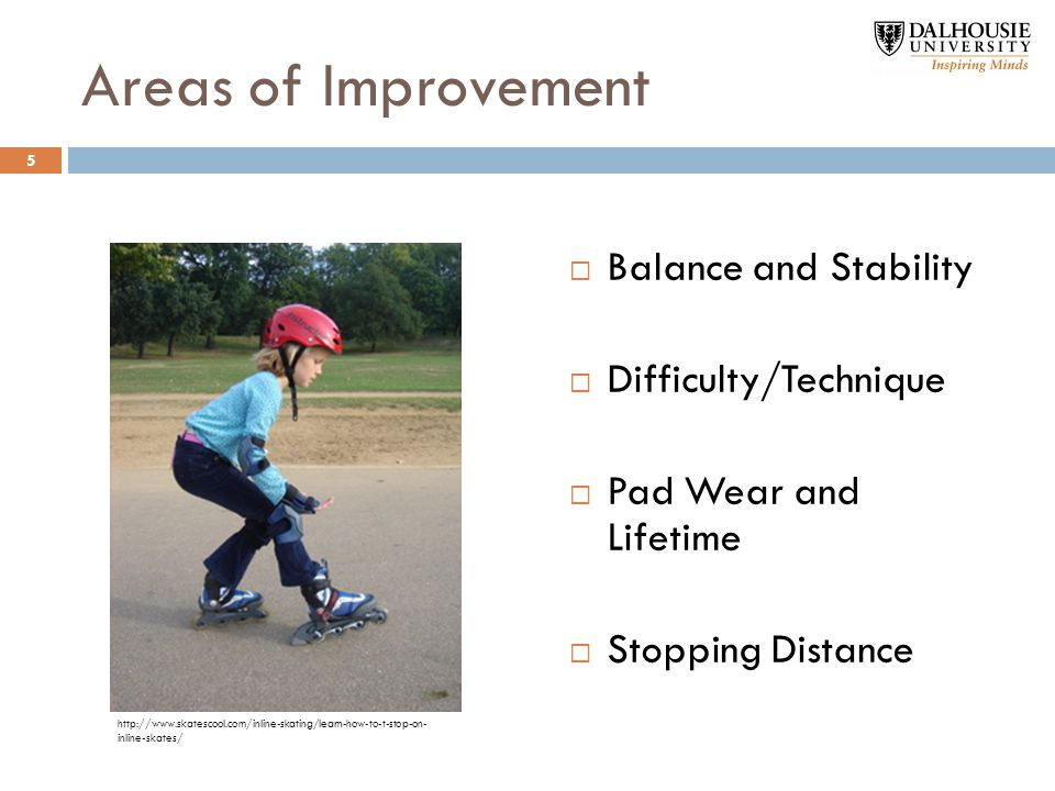 Areas of Improvement  Balance and Stability  Difficulty/Technique  Pad Wear and Lifetime  Stopping Distance http://www.skatescool.com/inline-skating/learn-how-to-t-stop-on- inline-skates/ 5