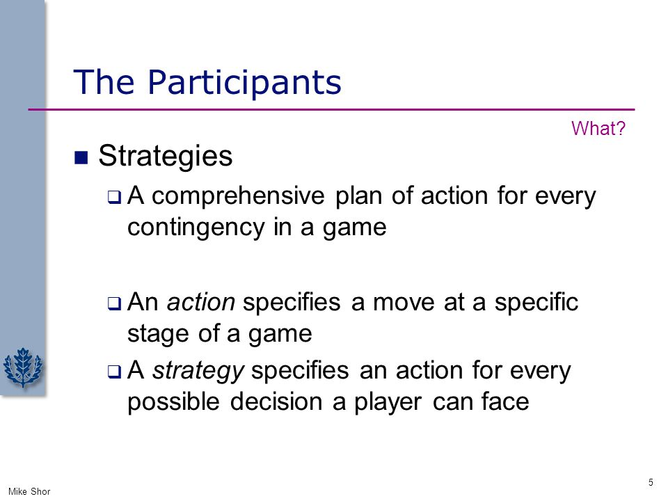 The Participants Strategies  A comprehensive plan of action for every contingency in a game  An action specifies a move at a specific stage of a gam