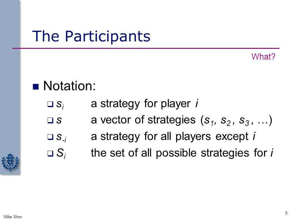 The Participants Notation:  s i a strategy for player i  s a vector of strategies (s 1, s 2, s 3, …)  s -i a strategy for all players except i  S