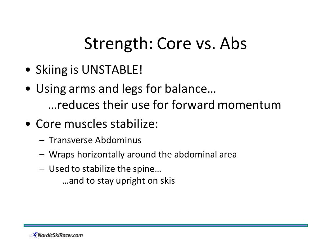 Strength: Core vs. Abs Skiing is UNSTABLE.