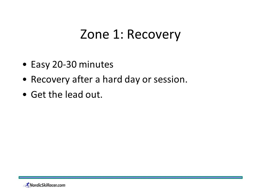 Zone 1: Recovery Easy 20-30 minutes Recovery after a hard day or session. Get the lead out.