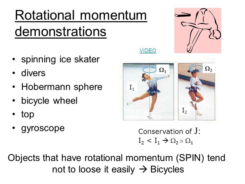 Rotational momentum J = rotational inertia (I)angular velocity () since the rotational momentum can't change then if the rotational inertia changes, the rotational velocity must also change to keep the rotational momentum constant Or, I 1  1 = I 2   If the rotational inertia increases, then the rotational velocity must decrease if the rotational inertia decreases, then the rotational velocity must increases