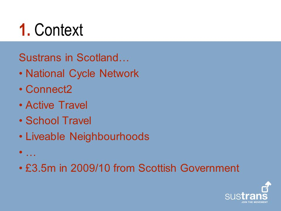 Sustrans in Scotland… National Cycle Network Connect2 Active Travel School Travel Liveable Neighbourhoods … £3.5m in 2009/10 from Scottish Government