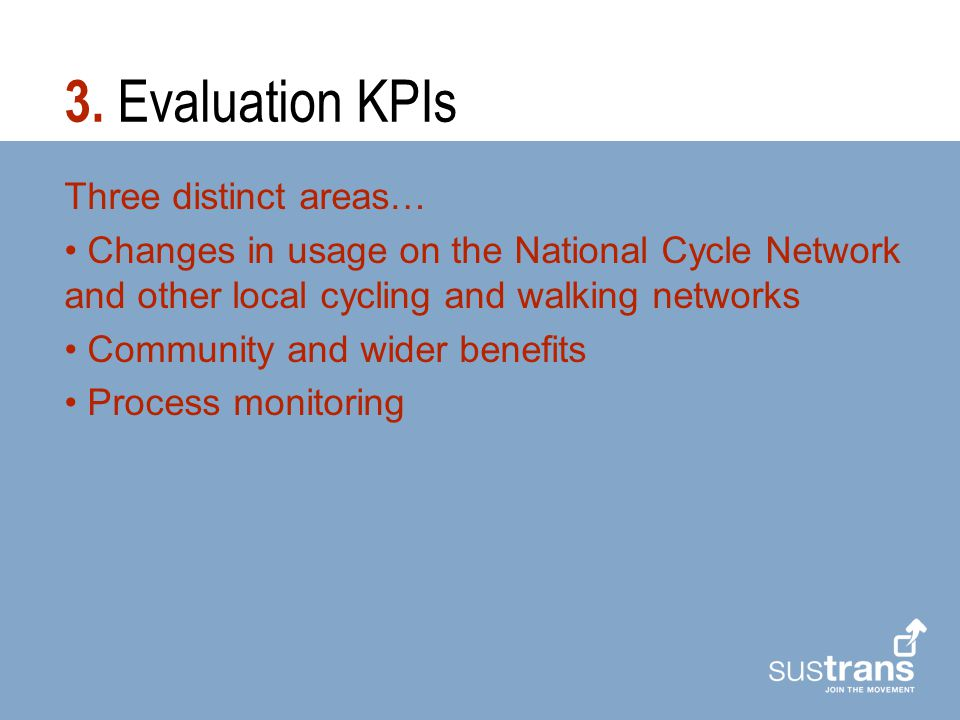 Three distinct areas… Changes in usage on the National Cycle Network and other local cycling and walking networks Community and wider benefits Process