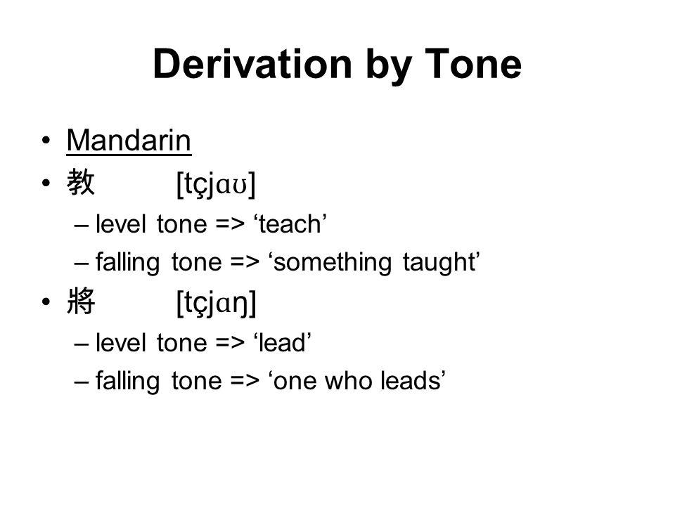 Derivation by Tone Mandarin 教 [tçj ɑʊ ] –level tone => 'teach' –falling tone => 'something taught' 將 [tçj ɑ ŋ] –level tone => 'lead' –falling tone => 'one who leads'