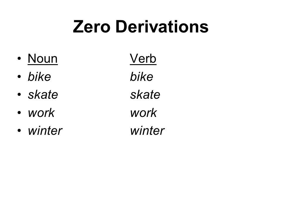 Zero Derivations NounVerb bikebike skateskate workwork winterwinter