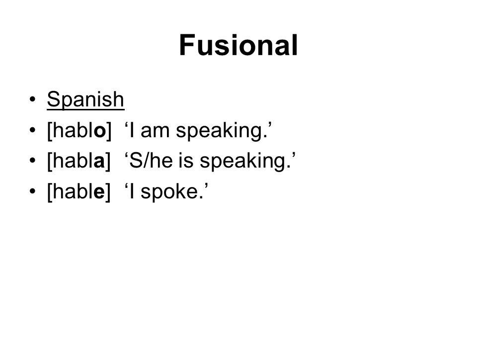 Fusional Spanish [hablo]'I am speaking.' [habla]'S/he is speaking.' [hable]'I spoke.'