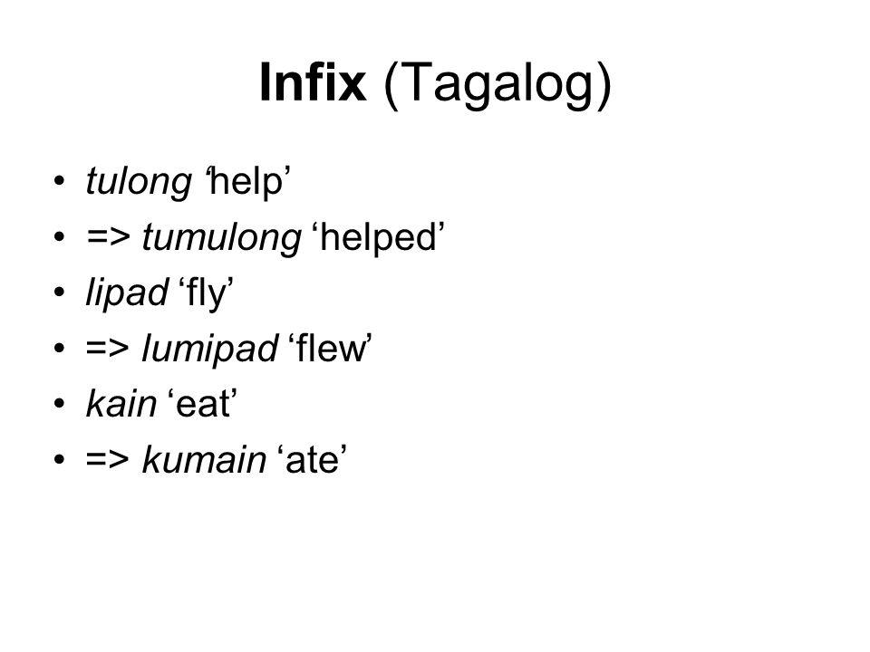 Infix (Tagalog) tulong 'help' => tumulong 'helped' lipad 'fly' => lumipad 'flew' kain 'eat' => kumain 'ate'