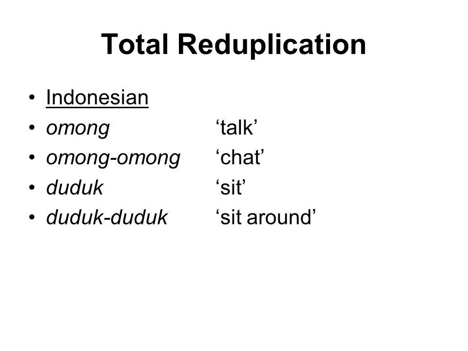 Total Reduplication Indonesian omong'talk' omong-omong'chat' duduk'sit' duduk-duduk'sit around'