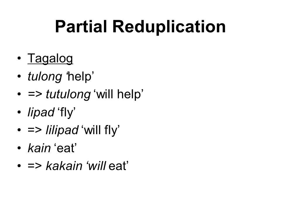 Partial Reduplication Tagalog tulong 'help' => tutulong 'will help' lipad 'fly' => lilipad 'will fly' kain 'eat' => kakain 'will eat'