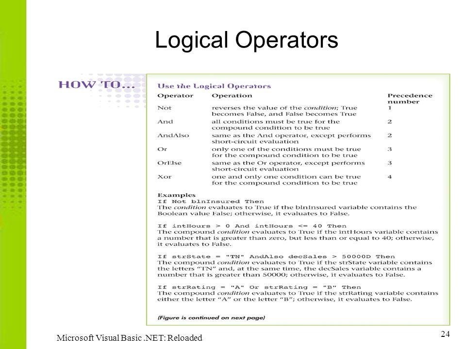 24 Microsoft Visual Basic.NET: Reloaded Logical Operators