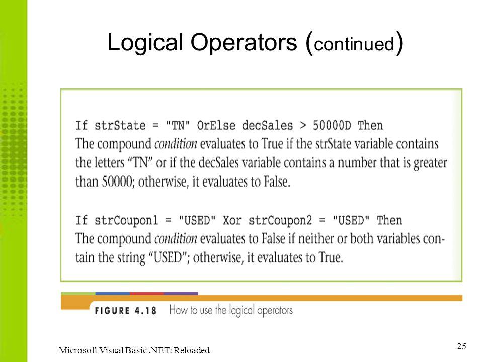 25 Microsoft Visual Basic.NET: Reloaded Logical Operators ( continued )