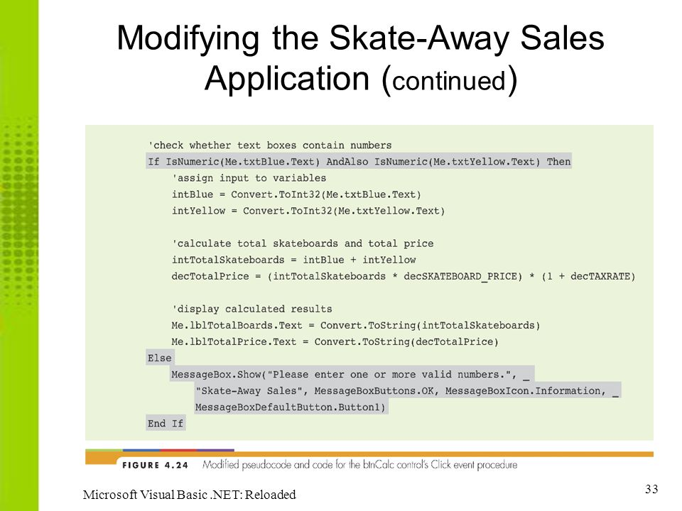 33 Microsoft Visual Basic.NET: Reloaded Modifying the Skate-Away Sales Application ( continued )
