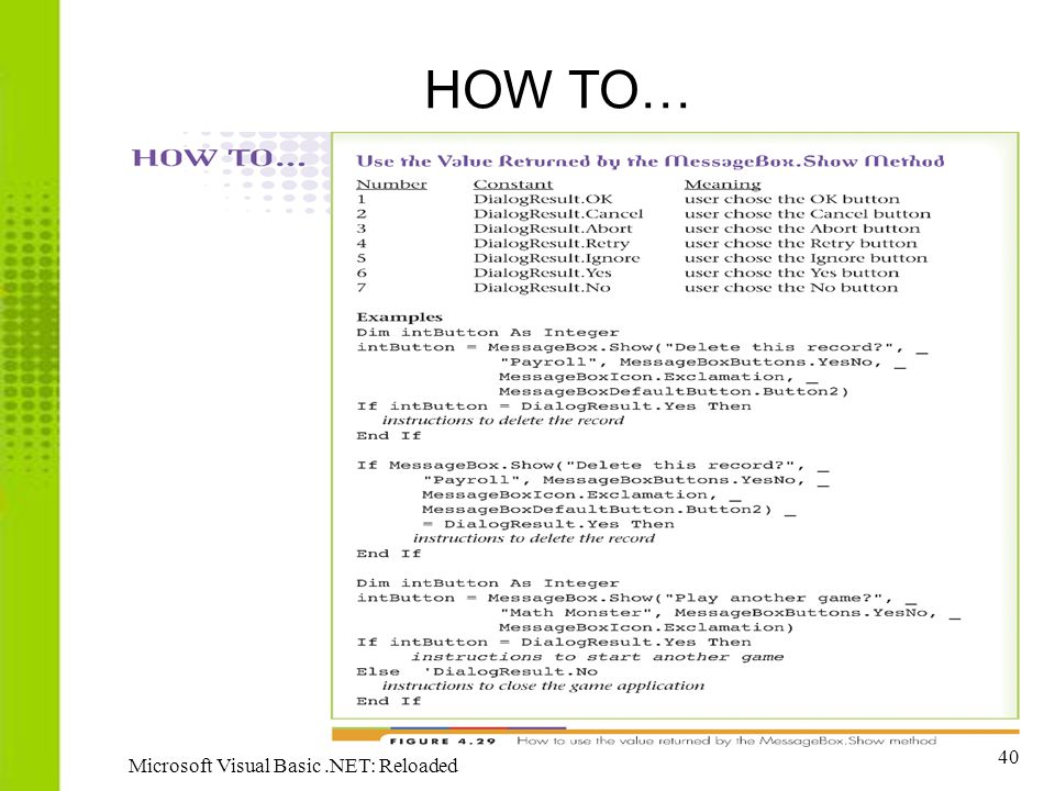 40 Microsoft Visual Basic.NET: Reloaded HOW TO…