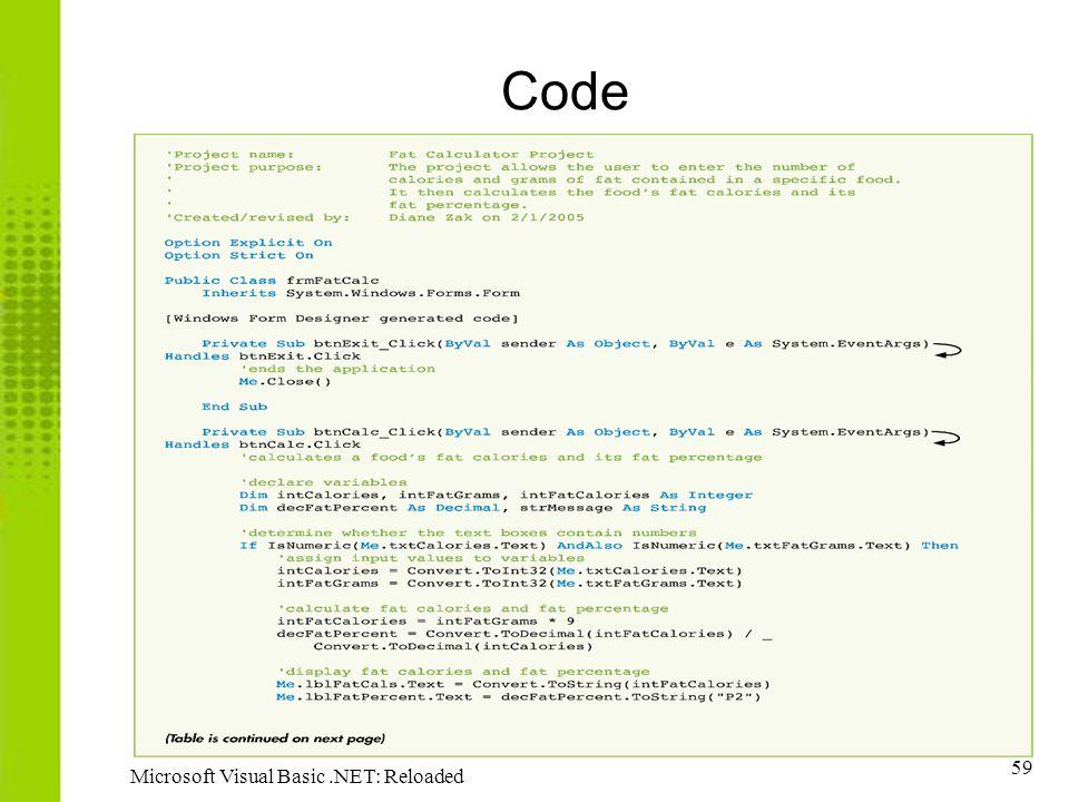 59 Microsoft Visual Basic.NET: Reloaded Code
