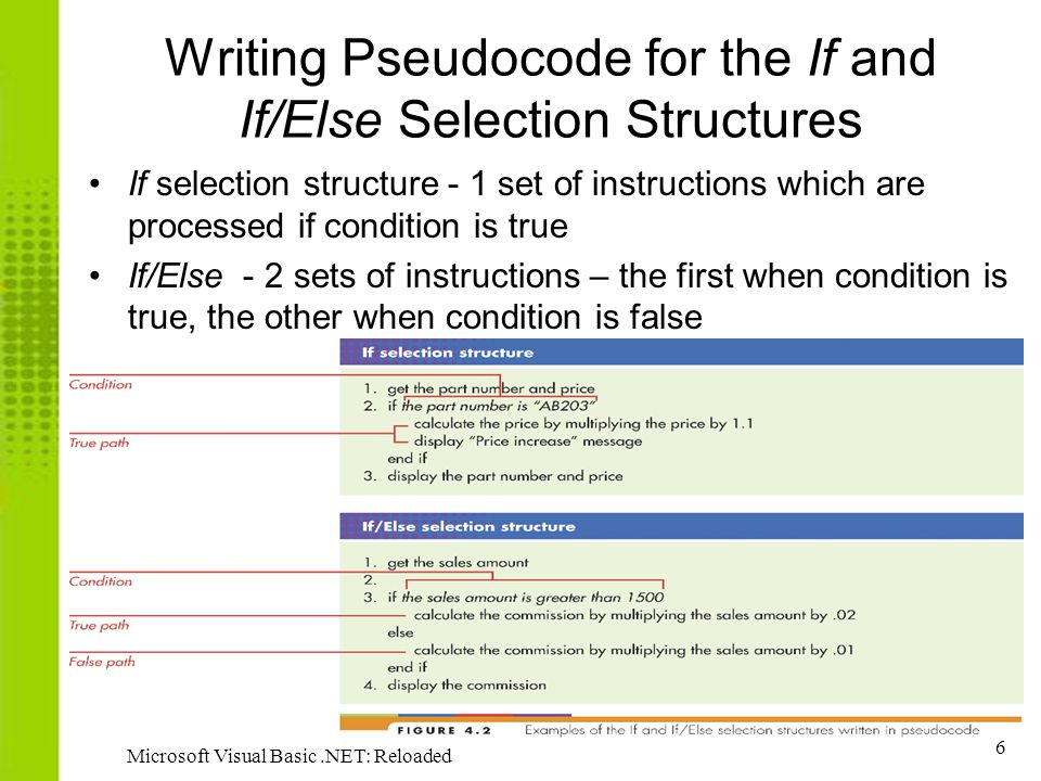 6 Microsoft Visual Basic.NET: Reloaded Writing Pseudocode for the If and If/Else Selection Structures If selection structure - 1 set of instructions w