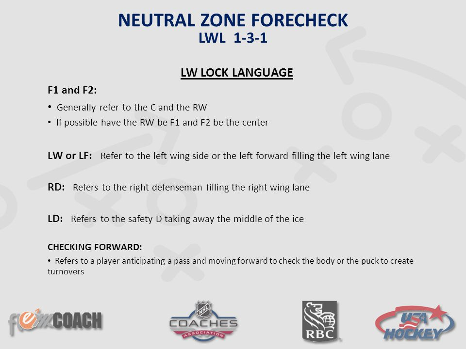 LW LOCK LANGUAGE F1 and F2: Generally refer to the C and the RW If possible have the RW be F1 and F2 be the center LW or LF: Refer to the left wing si