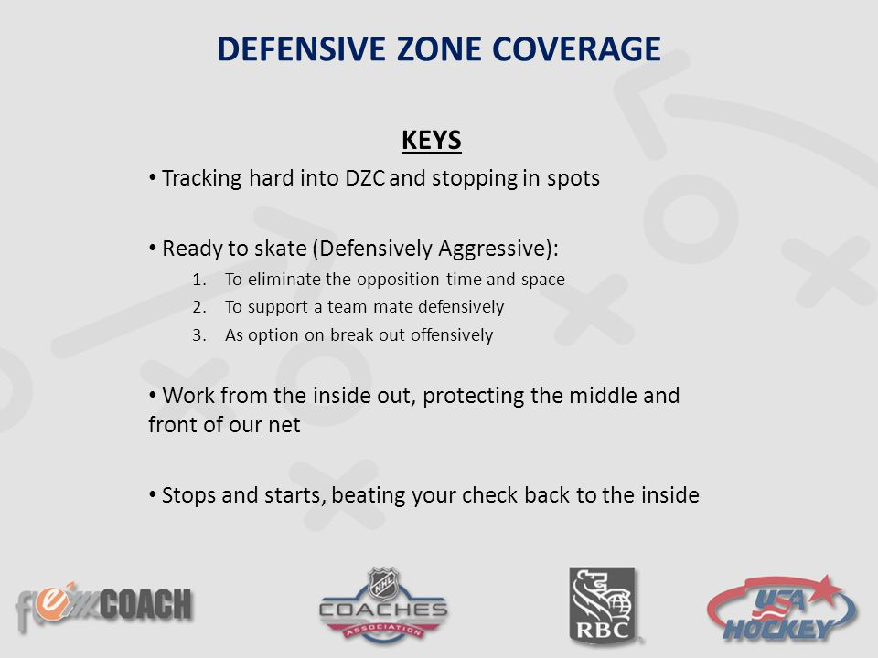 KEYS Tracking hard into DZC and stopping in spots Ready to skate (Defensively Aggressive): 1.To eliminate the opposition time and space 2.To support a team mate defensively 3.As option on break out offensively Work from the inside out, protecting the middle and front of our net Stops and starts, beating your check back to the inside DEFENSIVE ZONE COVERAGE