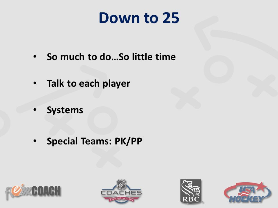 So much to do…So little time Talk to each player Systems Special Teams: PK/PP Down to 25