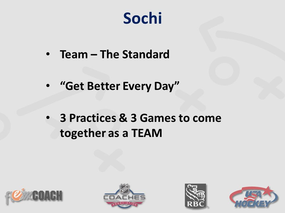 "Team – The Standard ""Get Better Every Day"" 3 Practices & 3 Games to come together as a TEAM Sochi"
