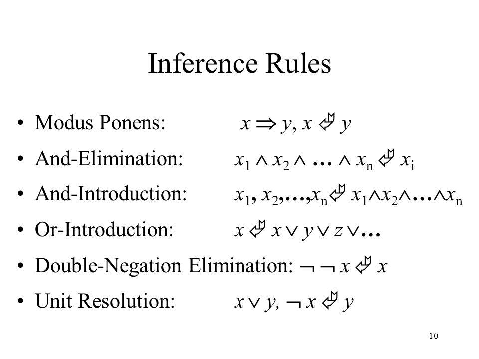 11 Resolution Inference Rule x  y,  y  z  x  z -or-  x  y, y  z   x  z