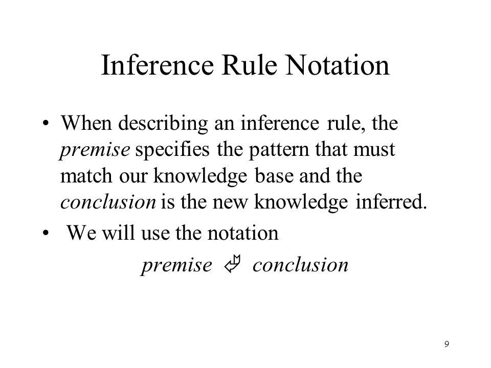10 Inference Rules Modus Ponens: x  y, x  y And-Elimination: x 1  x 2  …  x n  x i And-Introduction: x 1, x 2,…,x n  x 1  x 2  …  x n Or-Introduction: x  x  y  z  … Double-Negation Elimination:   x  x Unit Resolution: x  y,  x  y