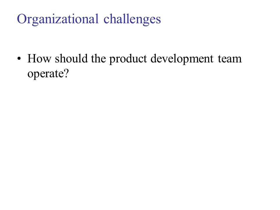 Organizational challenges How should the product development team operate?